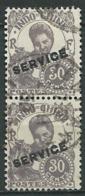 Indochine   - Service  - Yvert N° 28 Paire Verticale Oblitéré    -   Bce 20213 - Indochina (1889-1945)