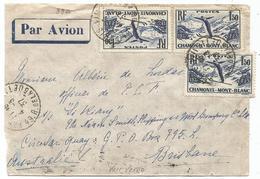 CHAMONIX 1FR50X4 LETTRE AVION PARIS 4.3.1937 POUR BRISBANE AUTRALIE  AU TARIF - Marcophilie (Lettres)