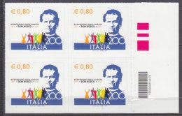 PGL DB270 - ITALIA REPUBBLICA 2015 SASSONE N°3569 ** QUARTINA CODICE A BARRE - Códigos De Barras