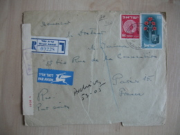 Israel  Lettre Recommande Ouverture Censure  Giryat Ammat  Pour Paris 1953 - Israel