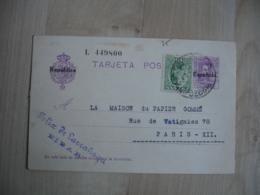 Espana Tarjeta Postal Surcharge Espanola Republica Ajout 10 Vert Entier Postal Stationery - Entiers Postaux