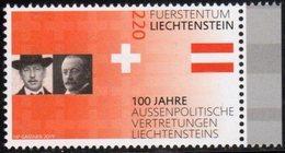 LIECHTENSTEIN, 2019, MNH, 100 YEARS OF LIECHTENSTEIN'S FOREIGN REPRESENTATION, 1v - Stamps