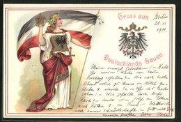 Präge-AK Germania Mit Fahne Und Krone, Adler Mit Wappen - Guerra 1914-18