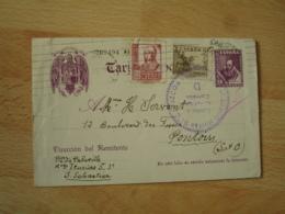 Espana Entier Postal Stationary  15 Plus 2 Timbre Pour France Censure Gobierno Militar Gupuzcoa - Entiers Postaux