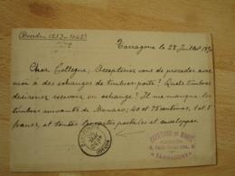 Monaco Principaute 1890 Cachet Arrivee Sur Entier Postal Stationery Cover Espagne - Monaco