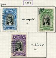 13013 LIBERIA  Lettres Chargées  N°10, 12/3, 15/9A  °/ *  1903-19   B/TB - Liberia