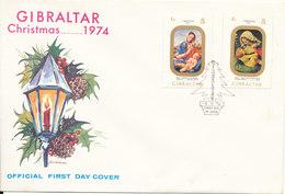 Gibraltar FDC Christmas 5-11-1974 With Cachet - Gibraltar