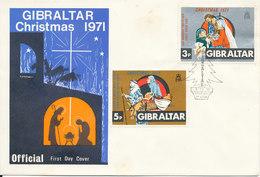 Gibraltar FDC Christmas 1-12-1971 With Cachet - Gibraltar