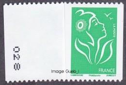 France Marianne De Lamouche N° 3742,A ** Roulette Légende Philaposte Le TVP Vert Au Verso Numéro à Gauche - 2004-08 Marianne Of Lamouche