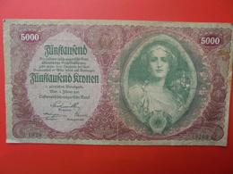 AUTRICHE 5000 KRONEN 1922 CIRCULER (B.1) - Autriche