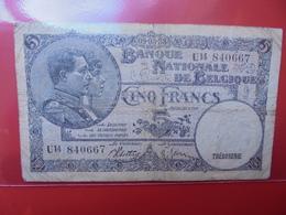 BELGIQUE 5 FRANCS 1938 CIRCULER (B.1) - [ 2] 1831-...: Belg. Königreich