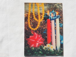 3d 3 D Lenticular Stereo Postcard Christmas Candles Toppan Japan 1980    A 190 - Stereoscope Cards