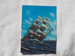 3d 3 D Lenticular Stereo Postcard Ship At Sea  Toppan Japan    A 190 - Stereoscope Cards