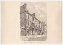 Gravure Sur Bois - 1904 - Luxeuil-les-Bains (Haute-Saône) - L'hôtel Du Cardinal Jouffroy - FRANCO DE PORT - Stiche & Gravuren