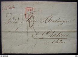 PRUSSE PAR GIVET Remscheid 1828 Marque Noire + Marque Rouge Encadrée  Et CPR2, Pour Chalons Sur Saône - Marcophilie (Lettres)