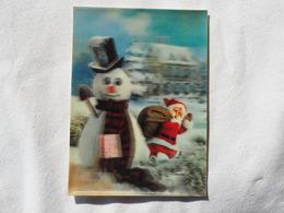 3d 3 D Lenticular Stereo Postcard Santa Claus Snowman 1975   A 190 - Stereoscope Cards