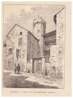 Gravure Sur Bois - 1904 - Luxeuil-les-Bains (Haute-Saône) - Tour Du Quatorzième Siècle - FRANCO DE PORT - Stiche & Gravuren