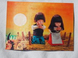 3d 3 D Lenticular Stereo Postcard Japanese Children For Prayer Toppan Japan 1979   A 190 - Stereoscope Cards