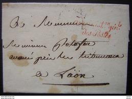Administration Générale Des Postes En Rouge, Cachet Postes Aux Chevaux Au Revers, Lettre Non Datée Pour Laon - Storia Postale