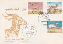 Algérie FDC 1992  Yvert Série 1016 à 1018 Animaux Gazelles - Algeria (1962-...)