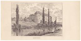 Gravure Sur Bois - 1904 - Bourguignon-lès-la-Charité (Haute-Saône) - Le Château - FRANCO DE PORT - Stiche & Gravuren