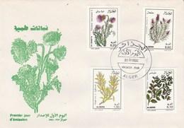 Algérie FDC 1992  Yvert Série 1022 à 1025 Plantes Médicinales Flore Fleurs - Algeria (1962-...)