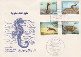 Algérie FDC 1992  Yvert Série 1029 à 1032 Animaux Marins Hippocampe - Algeria (1962-...)