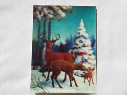 3d 3 D Lenticular Stereo Postcard Family Deer  Toppan Japan 1969   A 190 - Stereoscope Cards