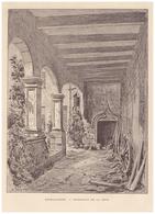 Gravure Sur Bois - 1904 - Bourguignon-lès-la-Charité (Haute-Saône) - La Cour Intérieure Du Château - FRANCO DE PORT - Stiche & Gravuren