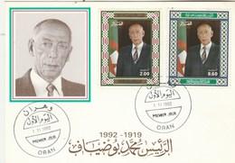 Algérie Carte Maximum FDC 1992  Yvert Série 1027 Et 1028 Mohamed Boudiaf - Algeria (1962-...)