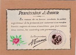 CPA Permission D'amour, Couple, Bataillon De Choc, Armée De L'amour, Militaria - Couples