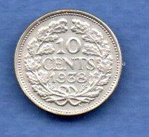 Pays Bas  -  10 Cents 1938 -  Km # 163 - état  TTB - 10 Cent