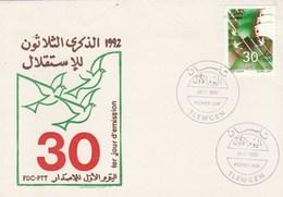 Algérie FDC 1992  Yvert 1021 30 Ans Indépendance - Oiseaux - Algeria (1962-...)