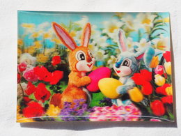 3d 3 D Lenticular Stereo Postcard Easter Rabbits  1969   A 190 - Stereoscope Cards