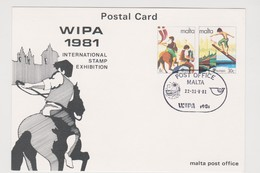 Malta 1981 Wipa 81 Souvenir Card - Malta