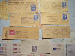11 Flammes De Meurthe Et Moselle Des Années Cinquantes  Sur Fragments De Lettres - Poststempel (Briefe)