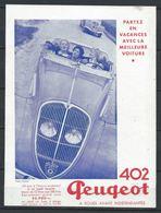 Publicité Peugeot - 402 Partez En Vacances - Document D'époque Issu D'une Revue Taille Entre A4 Et A5 - Publicités