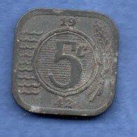 Pays Bas  -  5 Cents 1942 -  Km # 172 - état  TB - 5 Cent