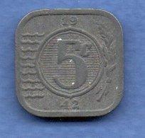 Pays Bas  -  5 Cents 1942 -  Km # 172 - état  TTB - 5 Cent