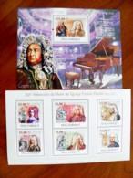 SALE! Mozambique 2 M/s 2009 Music Composer Frideric Handel Musical Instruments - Mozambique