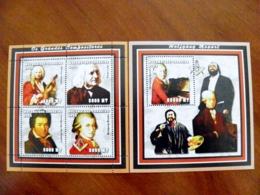 SALE! Mozambique 2 M/s 2002 Music Composer Wolfgang Mozart Beethoven Vivaldi Franz Liszt Pavarotti - Mozambique