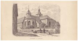 Gravure Sur Bois - 1904 - Faverney (Haute-Saône) - L'église - FRANCO DE PORT - Stiche & Gravuren
