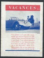 Publicité Peugeot - 402 Vacances - Document D'époque Issu D'une Revue Taille Entre A4 Et A5 - Publicités