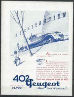 Publicité Peugeot - 402 Accélération - Document D'époque Issu D'une Revue Taille Entre A4 Et A5 - Publicités