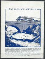 Publicité Peugeot - 302 402 Elégance - Document D'époque Issu D'une Revue Taille Entre A4 Et A5 - Publicités