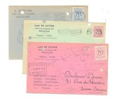 Lot De 3 Cartes Pré Imprimées - L. DE ZUTTER , Machines à Tirer, Doser, Capsuler,... BRUXELLES 1952 (van) - Publicité