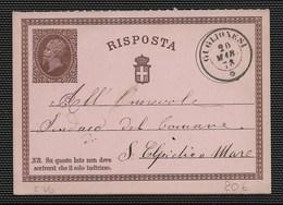 DA GIGLIONESI A SANT'ELPIDIO A MARE - 20.3.1878. - Stamped Stationery