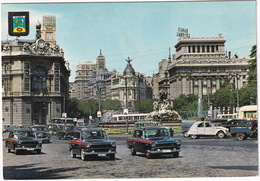 Madrid: SEAT 1400 C TAXI'S, CITROËN 2CV, AZU, AUSTIN A40 COUTRYMAN - 'PHILIPS' NEON - Cibeles Y Edificio Del Fenix - Toerisme