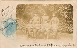 220519 - CARTE PHOTO GUERRE 1914 18 MILITARIA - 25 BESANCON Cabinet De La Direction De L'Intendance - Guerre 1914-18