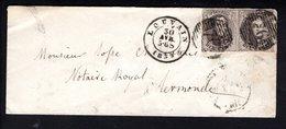 10A (2X) Sur ESC Expédiée Le 30 Avril 1859 à Destination De Termonde - Cachet D'arrivée Au Verso Du 1er Juin. - 1858-1862 Medallions (9/12)